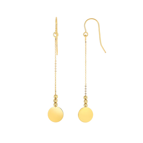 14K Yellow Gold Diamond Cut Bead With Flat Shiny Disc Drop Earrings