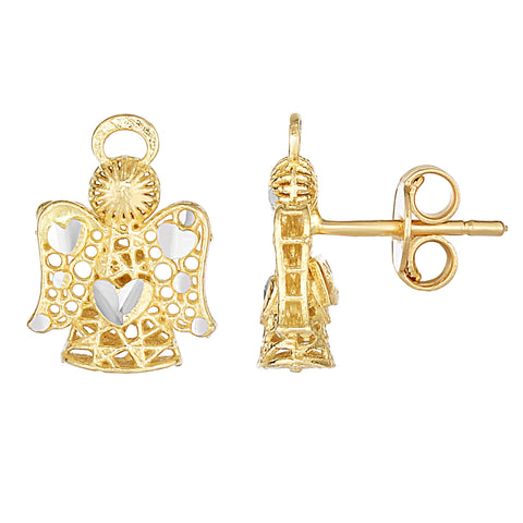 14K 2 Tone Gold Angel Stud Earrings