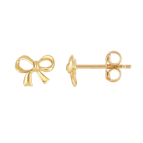 14K Yellow Gold Bow Tie Shape Stud Earrings