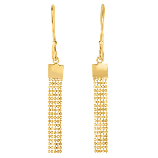 14K Yellow Gold Multi Strand Diamond Cut Chain Tassel Earrings