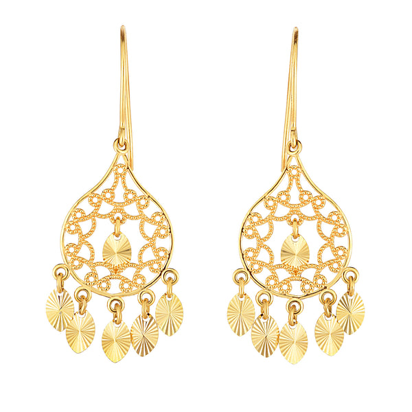 14K Yellow Gold Diamond Cut Discs Chandelier Earrings