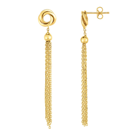 14K Gold Yellow Love Knot Tassel Earrings