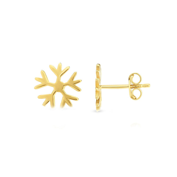 14k Yellow Gold Snow Flake Stud Earrings