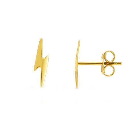 14k Yellow Gold Lighting Bold Stud Earrings