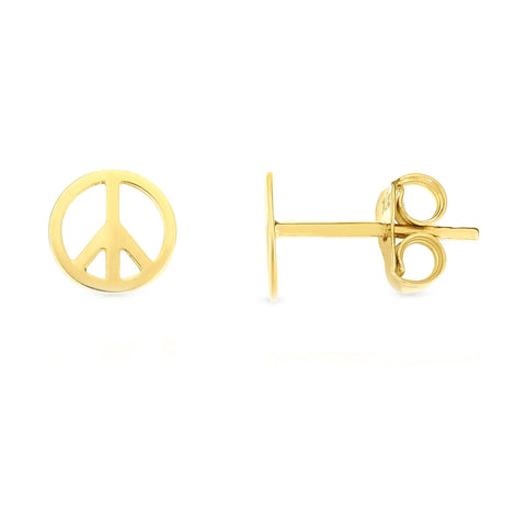 14k Yellow Gold Peace Sign Stud Earrings
