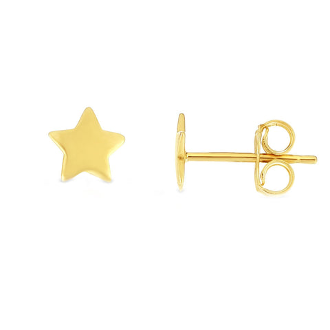 14k Yellow Gold Star Stud Earrings