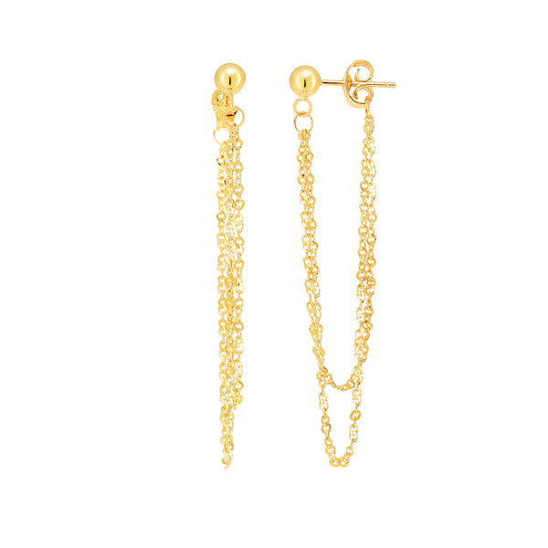 14K Yellow Gold Multi Stranded Cable Chain Front And Back Style Drop Earrings