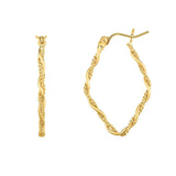 14K Gold Yellow Finish Shiny Textured Tube Hoop Fancy Earrings