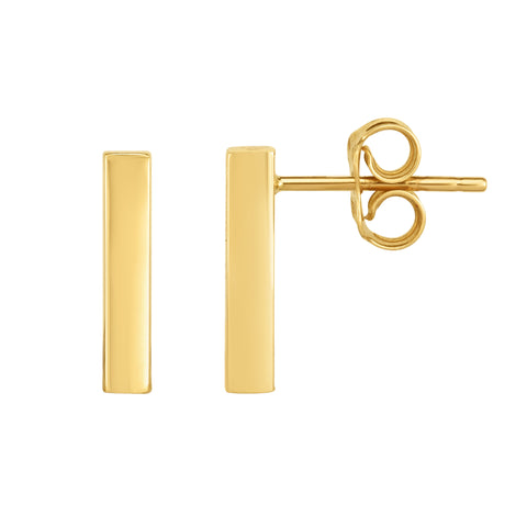 14K Gold Yellow Bar Square Tube Style Stud Earrings