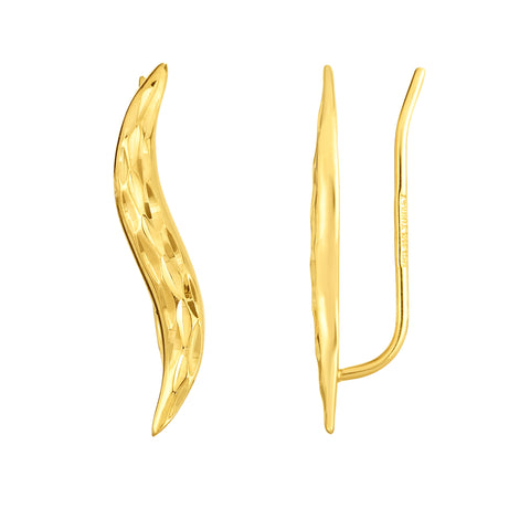 14K Yellow Gold Diamond Cut Leaf Climber Earrings
