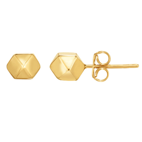 14K Gold Yellow Multi Pyramid And Hexagon Combo Design Stud Earrings