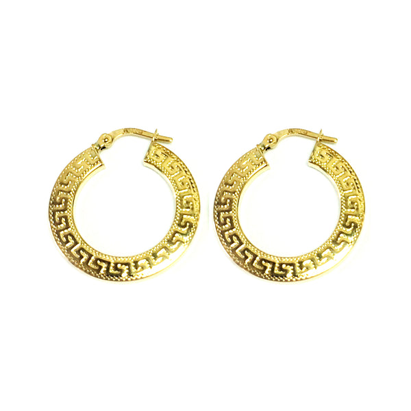 14K Yellow Gold Small Greek Key Textured Hoop Earrings, Diameter 22mm