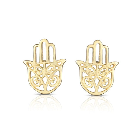 14k Yellow Gold Hamsa Shape Stud Earrings