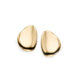 14k Yellow Gold Oval Disc Stud Earrings