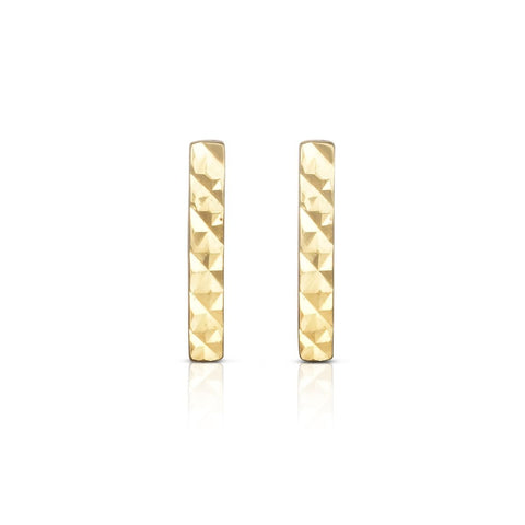 14k Yellow Gold Vertical Bar Stud Earrings