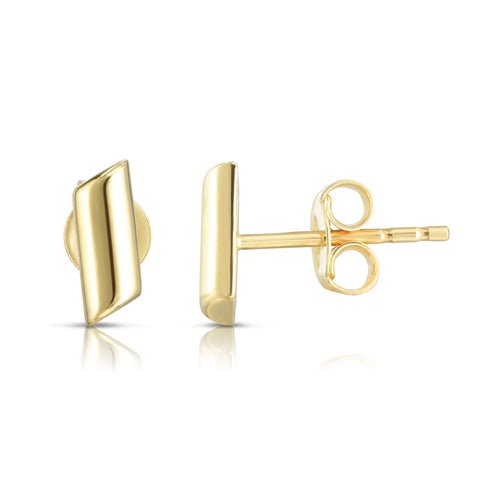 14k Yellow Gold Curved Bar Stud Earrings