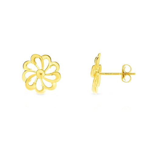 14k Yellow Gold Flower Stud Earrings