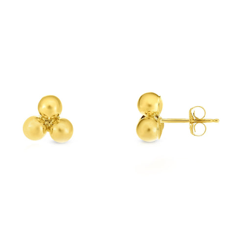 14k Yellow Gold Thee Ball Stud Earrings