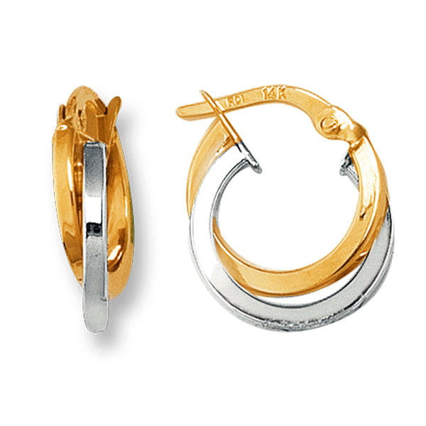 14K Yellow And White Gold Two Tone Double Row Hoop Earrings, Diameter 12mm