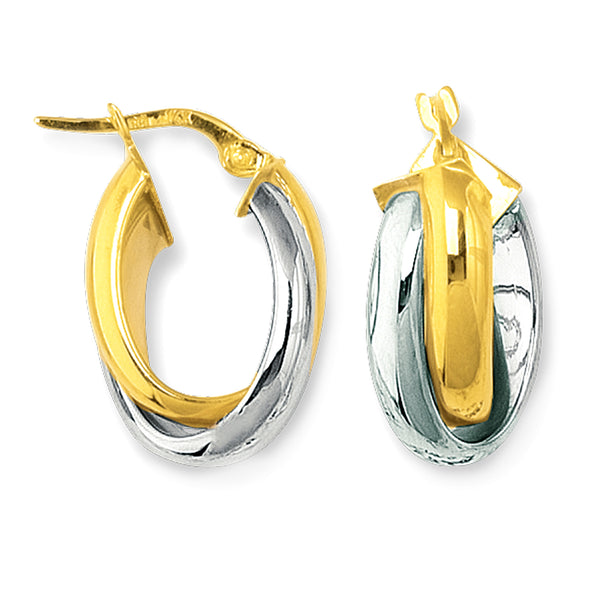14K Yellow And White Gold Round Shape Two Tone Double Row Hoop Earrings