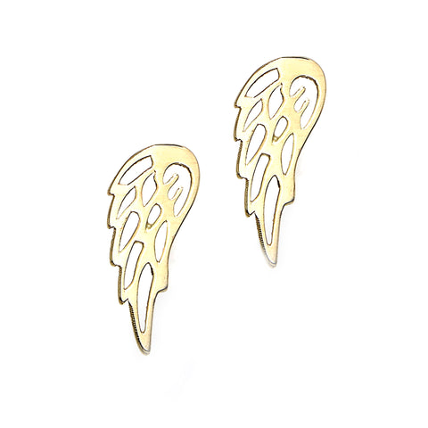 14k Yellow Gold Angel Wing Stud Earrings