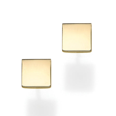 14k Yellow Gold Square Shape Stud Earrings