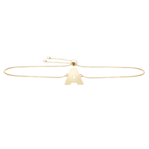 14k Yellow Gold Initial Letter Friendship Adjustable Bracelet, 9.25""