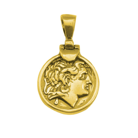 Sterling Silver - 18 Karat Gold Overlay Plated Alexander The Great Pendant - JewelryAffairs  - 1