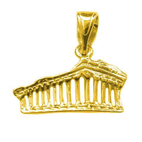 Sterling Silver - 18 Karat Gold Overlay Greek Parthenon Akropolis Pendant - JewelryAffairs  - 1