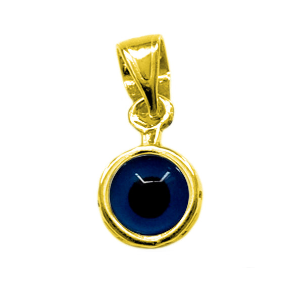 Sterling Silver  - 18 Karat Gold Overlay Plated Greek Meandros Evil Eye - Diameter 7.5 mm - JewelryAffairs  - 1