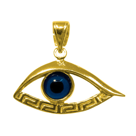 Sterling Silver 18 Karat Gold Overlay Plated Evil Eye Meandros Pendant