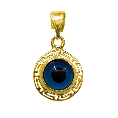 Greek Key Theme Double Sided Evil Eye Pendant In Sterling Silver -18 Karat Gold Overlay - JewelryAffairs  - 1