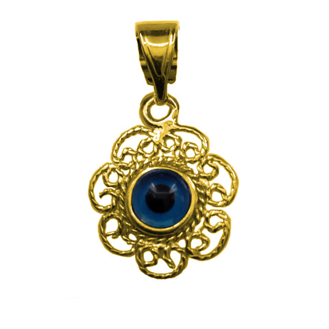 Sterling Silver Filigree Double Sided Evil Eye Pendant Charm 18 Karat Gold Overlay
