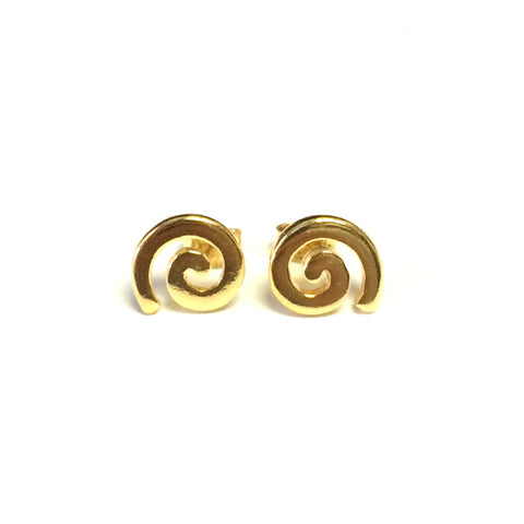 Sterling Silver 18 Karat Gold Overlay Greek Spira Stud Earrings