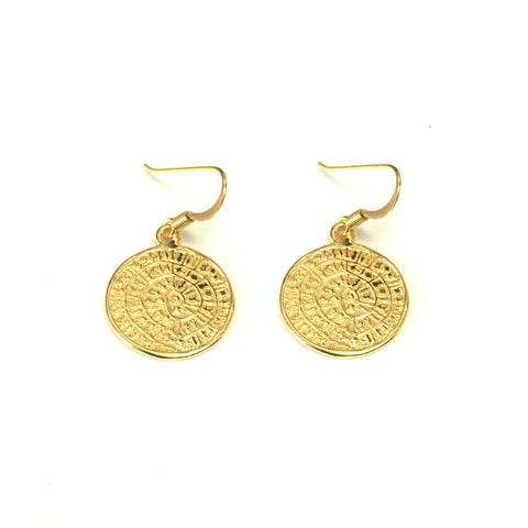 Sterling Silver 18 Karat Gold Overlay Greek Phaistos Drop Earrings