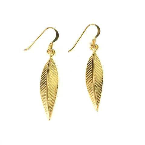 Sterling Silver 18 Karat Gold Overlay Greek Olive Leaf Drop Earrings