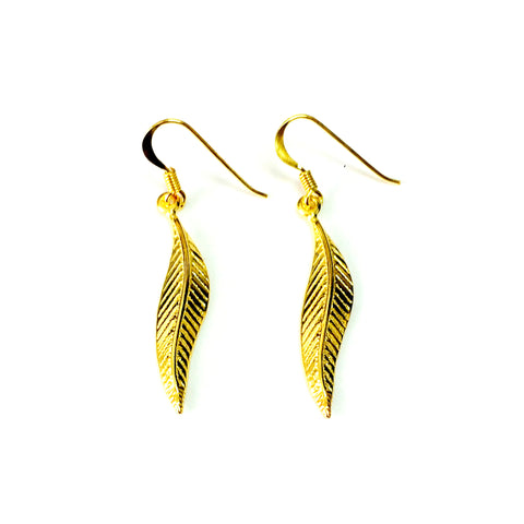 Sterling Silver 18k Gold Overlay Greek Olive Leaf Drop Wavy Earrings