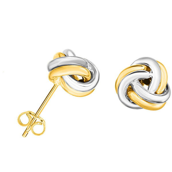 14k Two Tone Gold Shiny Double Row Round Tube Love Knot Stud Earrings, 10mm
