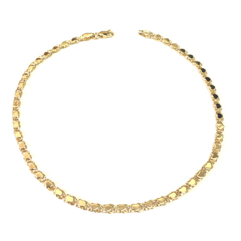 14K Yellow Gold Diamond Cut Hearts Chain Anklet, 10""