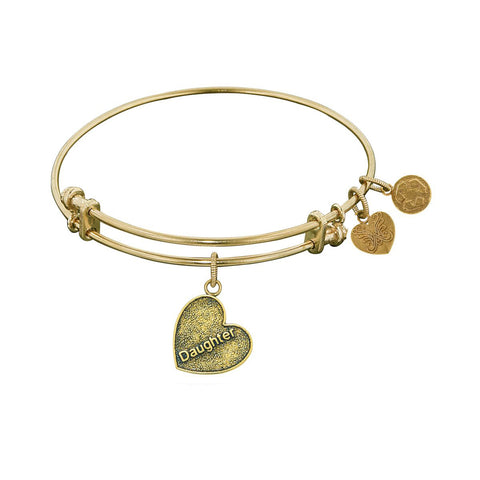 Stipple Finish Brass Daughter Heart Angelica Bangle Bracelet, 7.25""