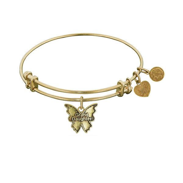 Smooth Finish Brass Grand Daughter Angelica Bangle Bracelet, 7.25""