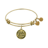 Smooth Finish Brass Live, Love, Laugh Angelica Bangle Bracelet, 7.25""