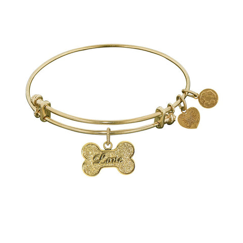 Non-Antique  Stipple Finish Brass Bone With Love Angelica Bangle Bracelet