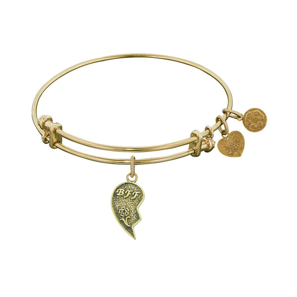 Stipple Finish Brass Right-Half Heart BFF Angelica Bangle Bracelet, 7.25""