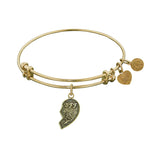 Stipple Finish Brass Left-Half Heart BFF BFF Angelica Bangle Bracelet, 7.25""