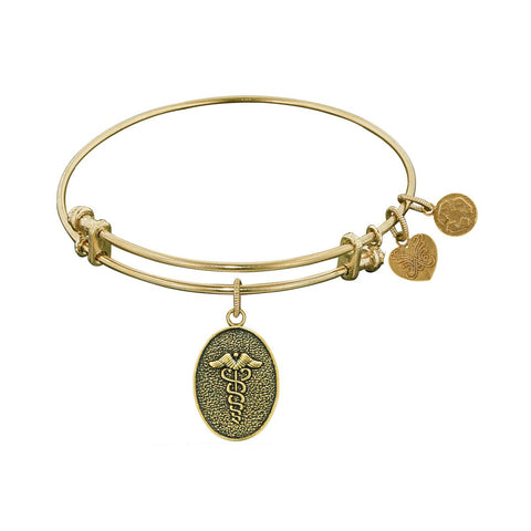 Stipple Finish Brass Caduceus Angelica Bangle Bracelet, 7.25""