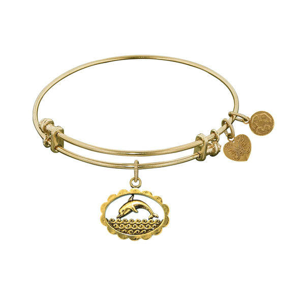 Smooth Finish Brass Dolphin Angelica Bracelet, 7.25""