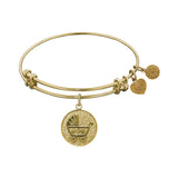 Stipple Finish Brass New Mom  Angelica Bangle Bracelet, 7.25""