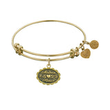 Stipple Finish Brass Matron of Honor Angelica Bangle Bracelet, 7.25""