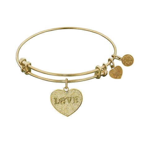 Non-Antique  Stipple Finish Brass Love With Paw Angelica Bangle Bracelet